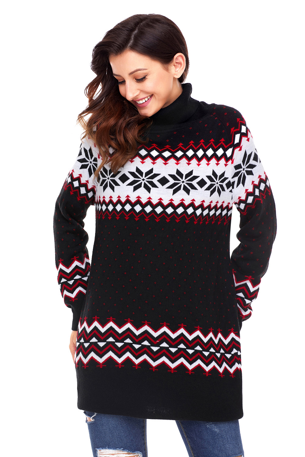 Black Christmas Snowflake Knit Turtleneck Sweater