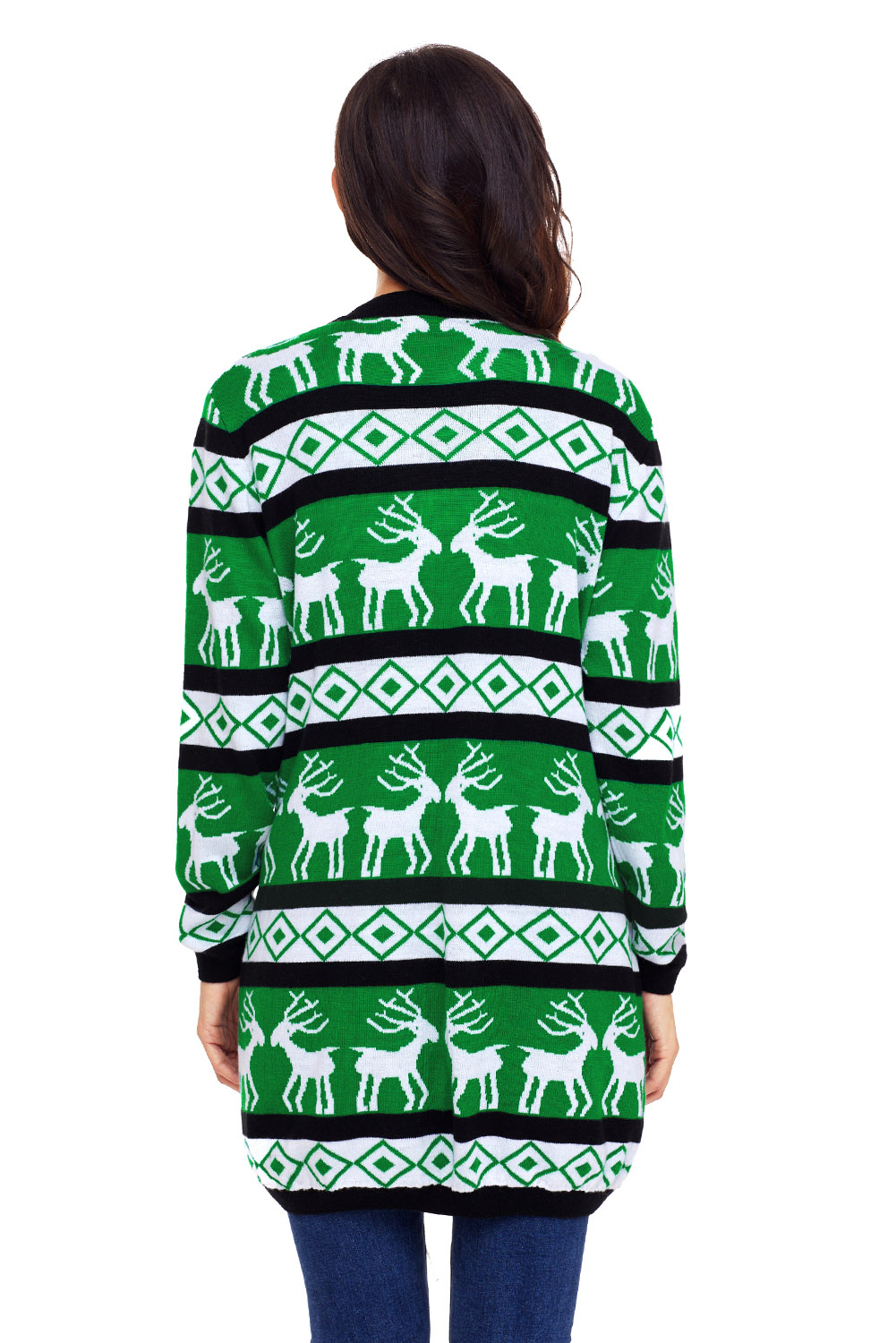 Black Green Reindeer Christmas Cardigan