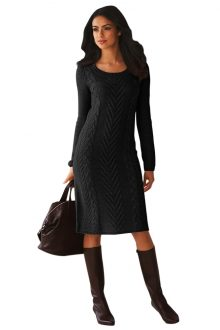 Black Knitted Sweater Dress