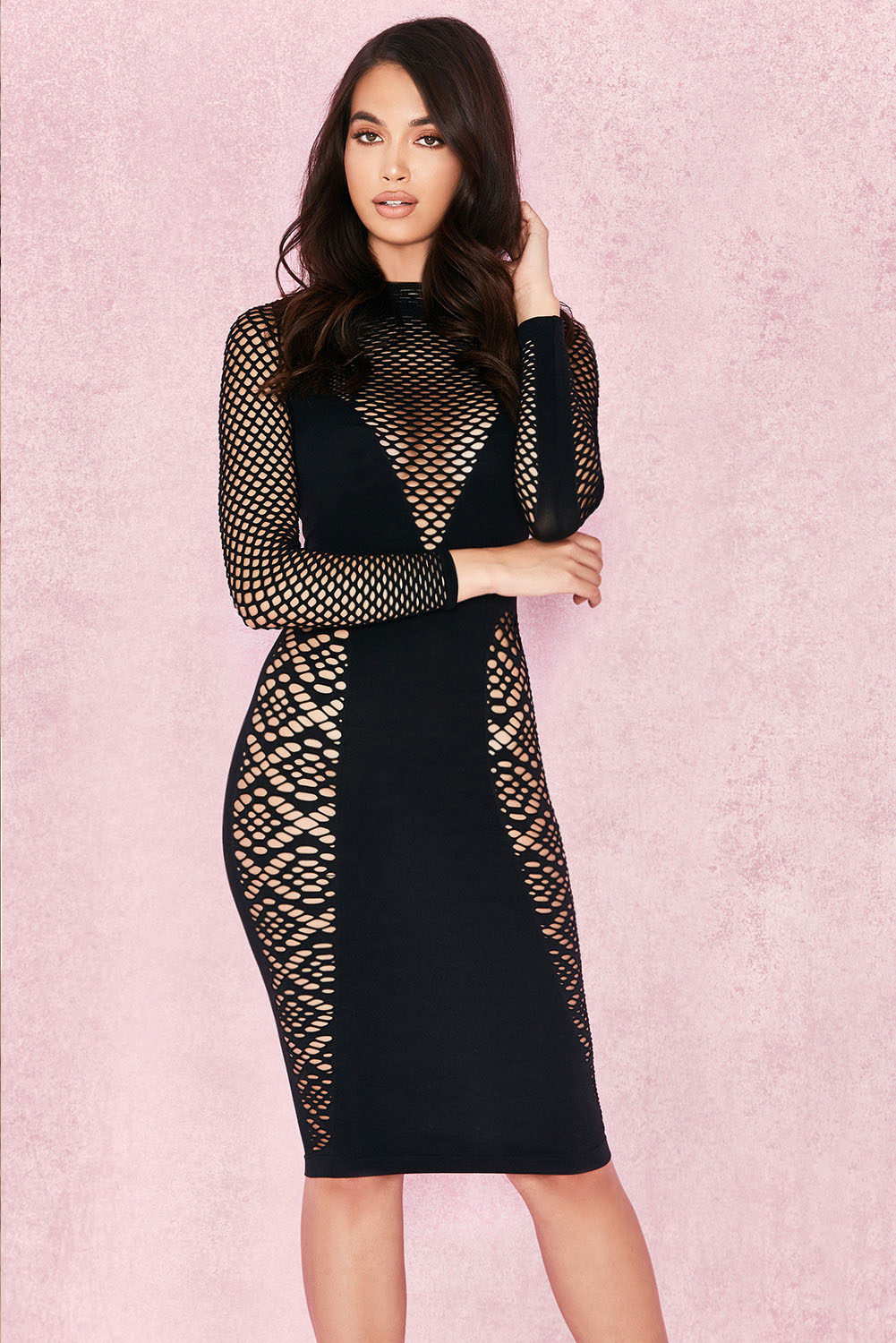 Black Mesh Long Sleeve O Neck Bandage Dress