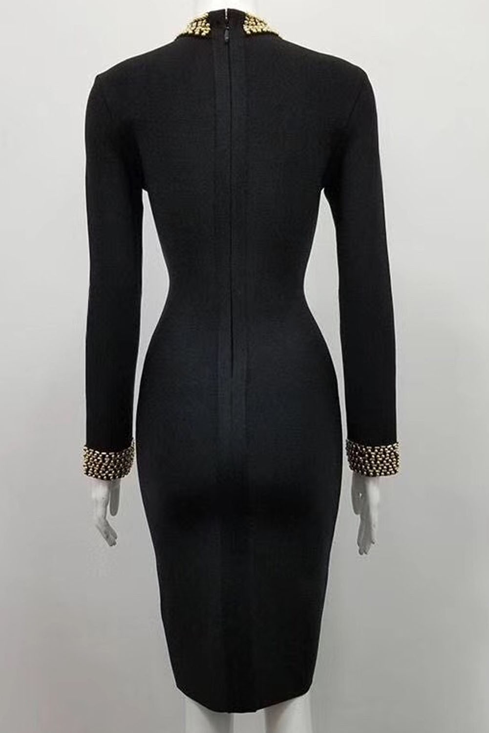 Black Midi Long Sleeve Beading Ron Neck Bandage Dress