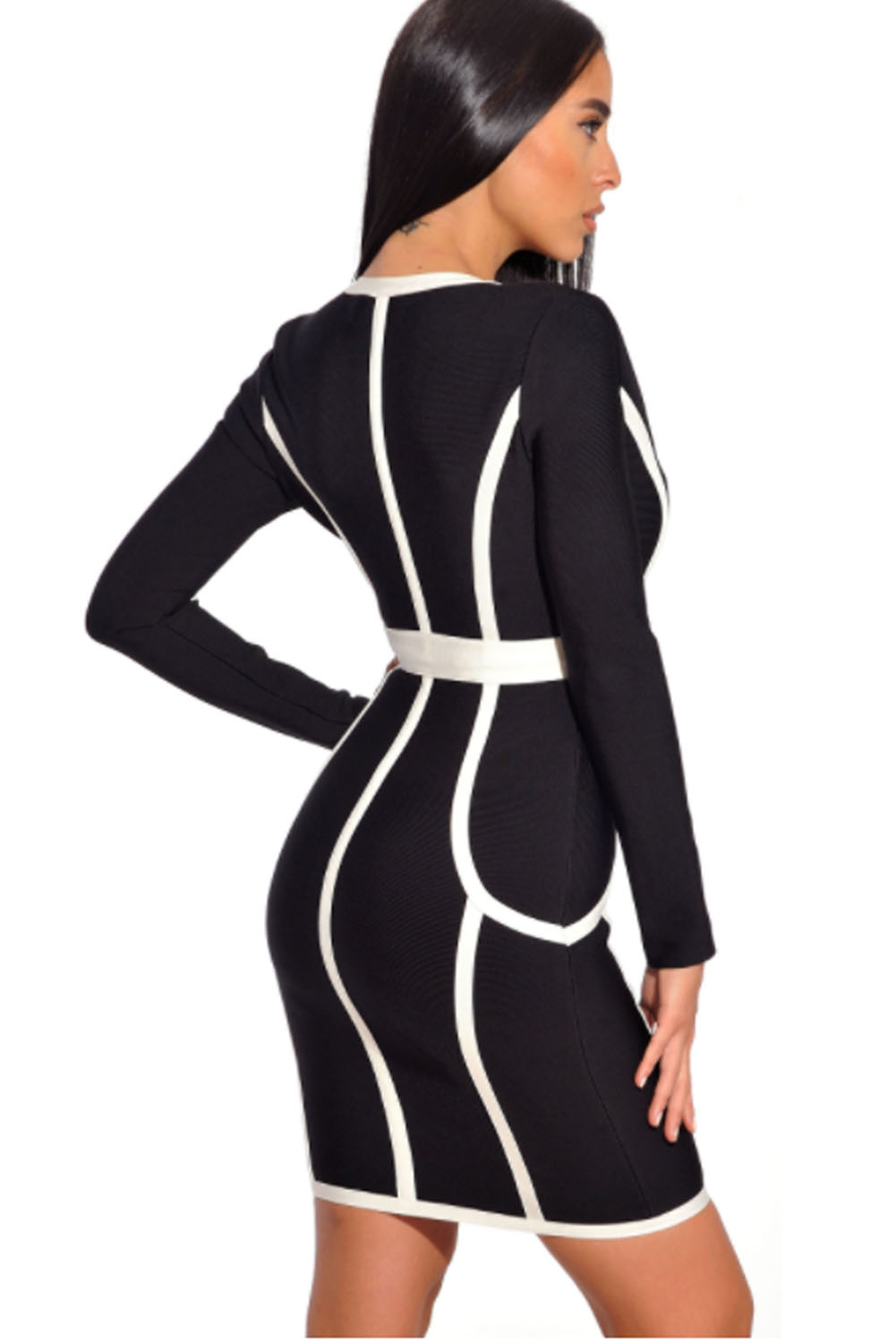 Black & White Front Zip Deep V Neck Bandage Dress