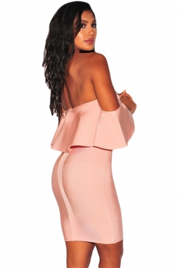 Blush Pink Ruffle Off Shoulder Bandage Dress