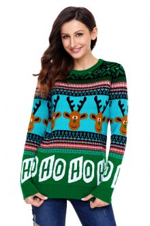 HO HO HO Green Christmas Sweater