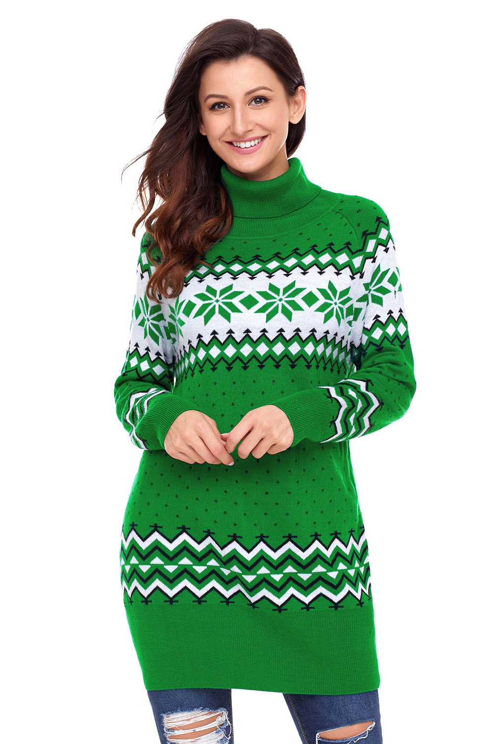 Green Christmas Snowflake Knit Turtleneck Sweater
