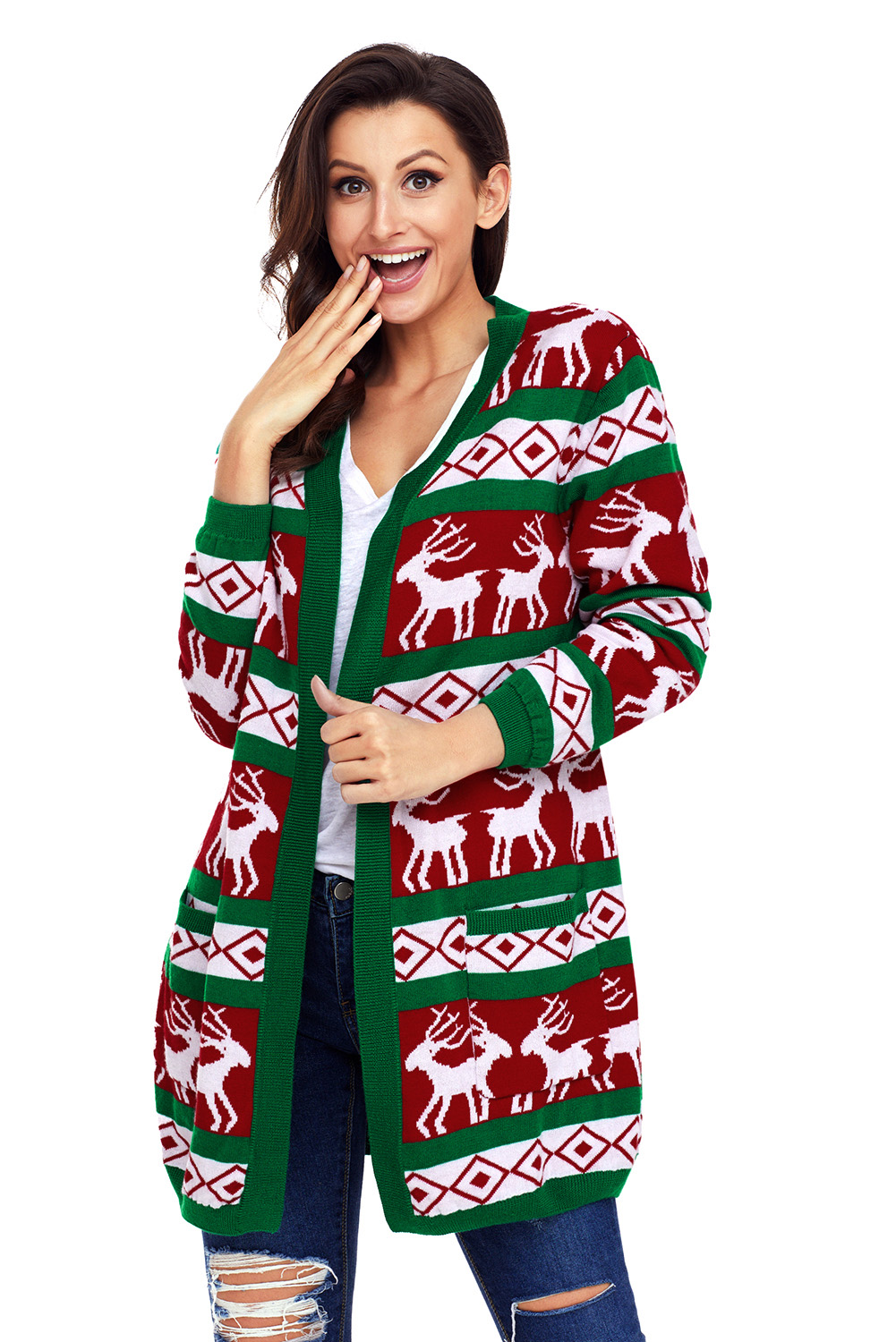 Green Red Reindeer Christmas Cardigan