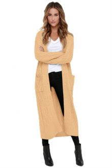 Khaki Knit Long Cardigan Sweater