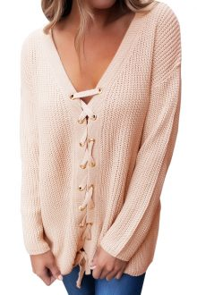 Khaki Lace up Sweater