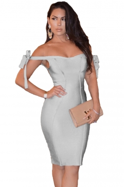 Off Shoulder Bow Tie Bandage Dress