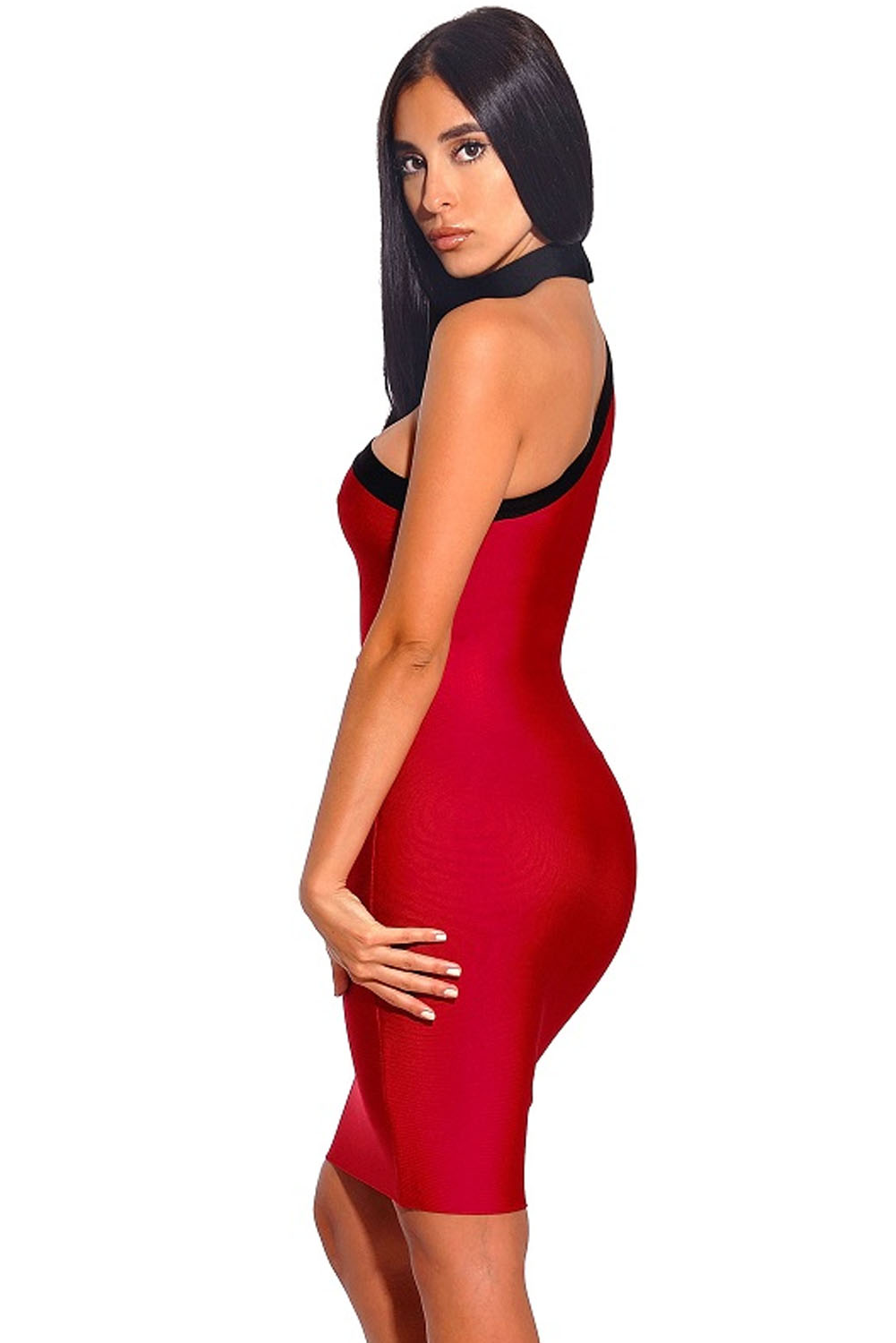 Red Asymmetrical One Shoulder Long Sleeve Bandage