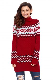 Red Christmas Snowflake Knit Turtleneck Sweater