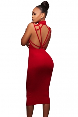 Red Cut-out Back Dress