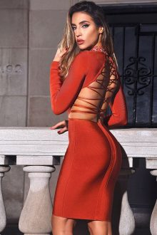 Red Lace Up Cut Out Back Neckline Rhinestone Detail