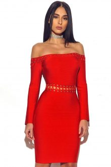 Red Strapless Off Shoulder Lace Up Bandage Dress