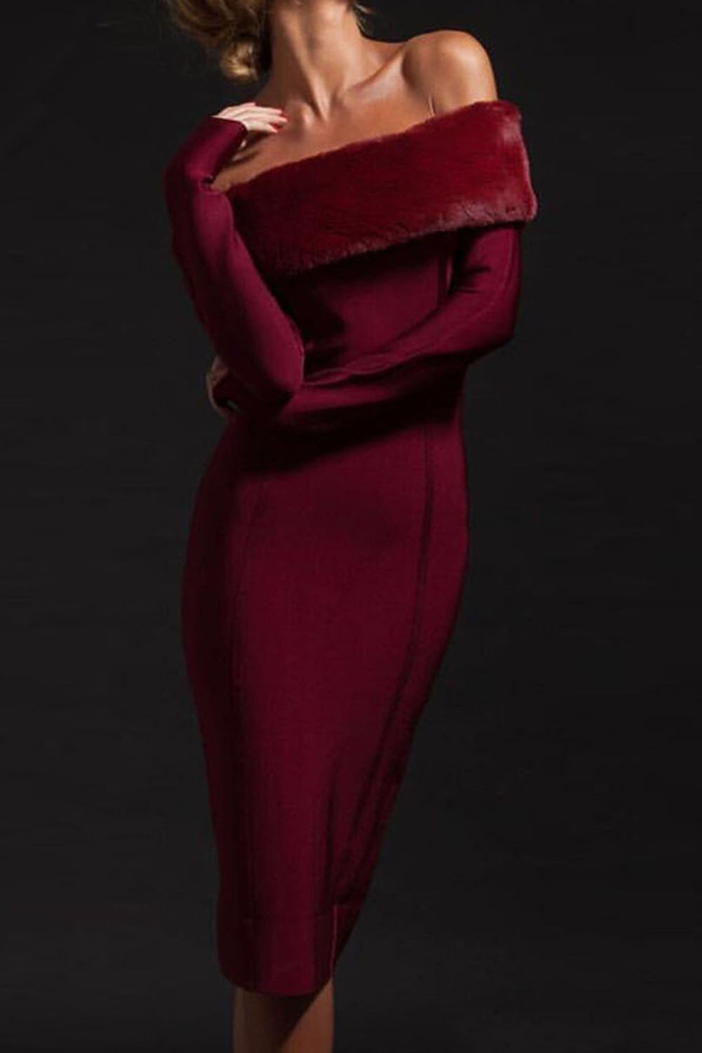 Red Wine Off Shoulder Long Sleeve Midi Bandage Dress