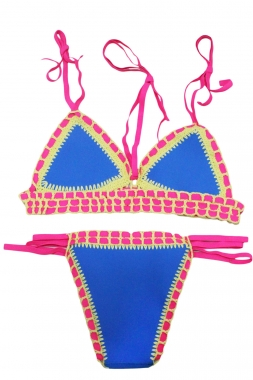 Strappy Halter Crochet Trimmed Blue Neoprene Swimwear