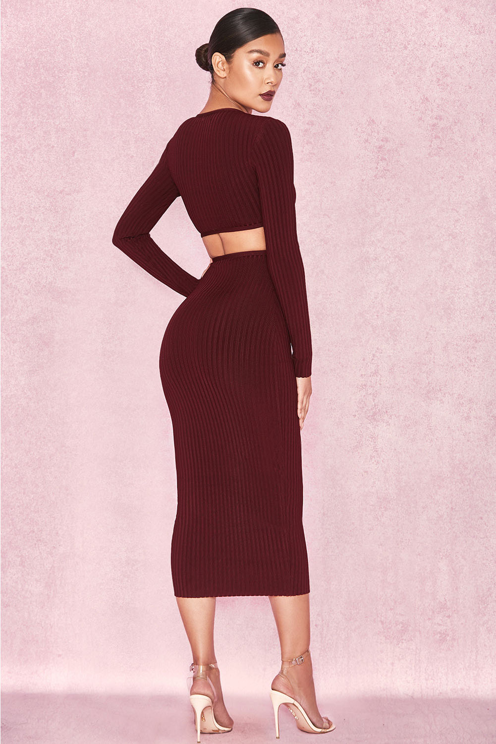 Wine Front Zip Long Sleeve Midi Bandage Dress