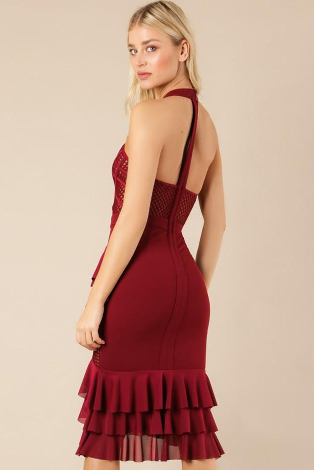 Wine Midi Halter Ruffle Sleeveless
