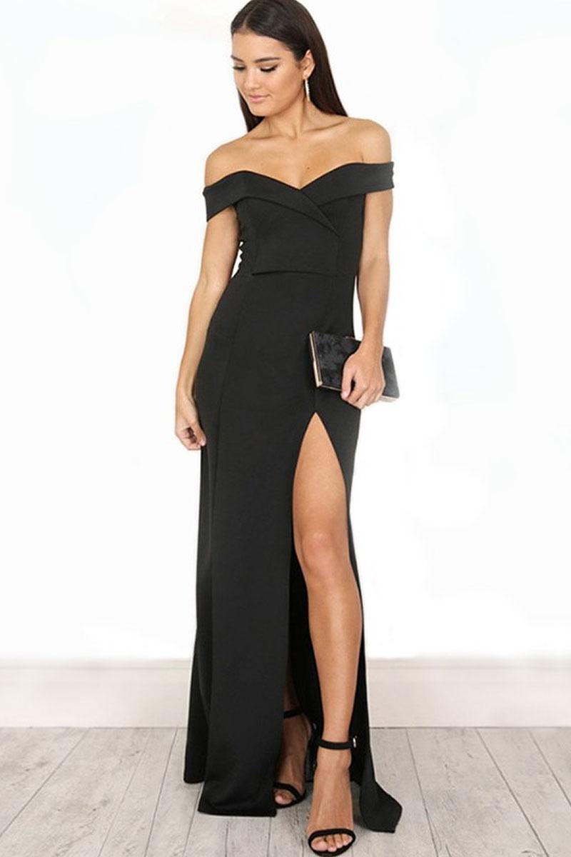 Black Maxi Off Shoulder Short Sleeves Bandage Dress