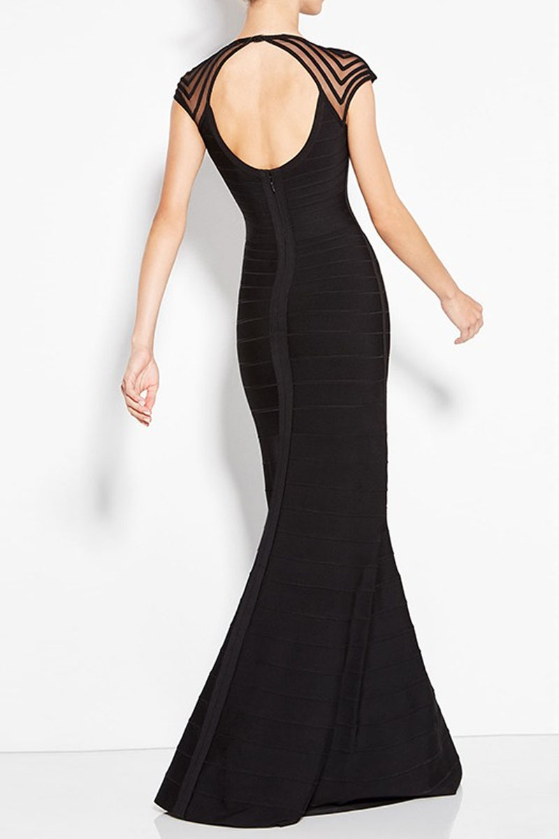 Black Maxi Short Sleeves Round Neck Open Back Bandage Dress