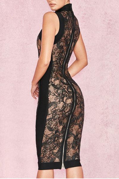 Black Round Neck Lace Bodycon Dress