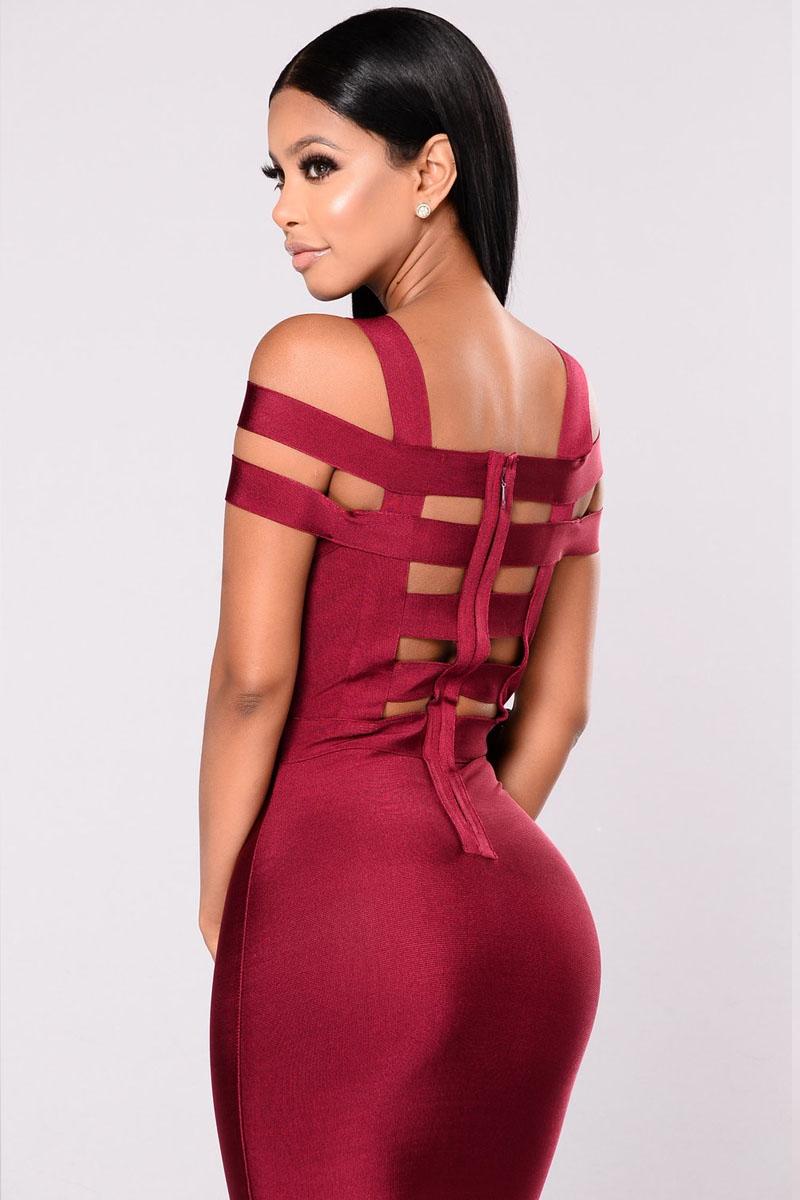 Burgundy Off Shoulder Caged Back Detail Bandage Dress