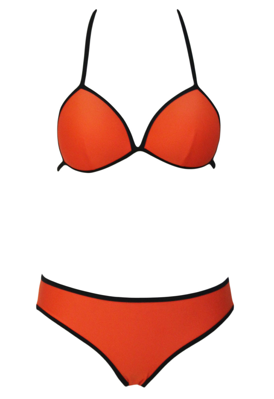 Orange Triangular Bikini Swimsuit
