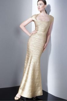 Gold Maxi Foil Printing Short Sleeves Bandage Dress