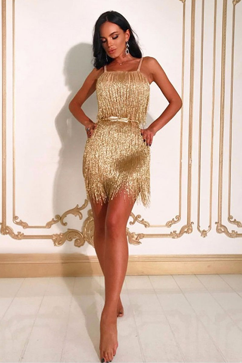 Gold Mini Tassels Strappy Sleeveless Bodycon Dress