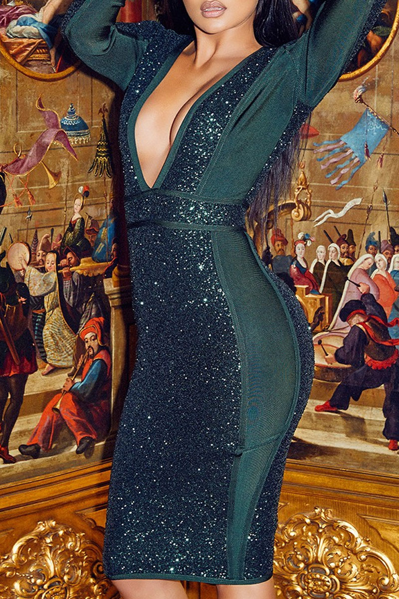 Green Mini Sequin V Neck Long Sleeve Bandage Dress