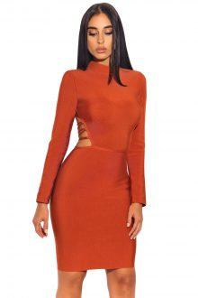 Elegant High Neck Lace up Cut out Back Dress