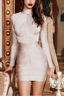 Nude Round Neck Mini Dress