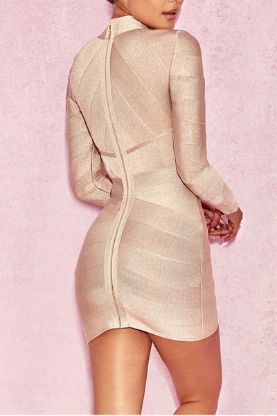 Nude Round Neck Mini Dress