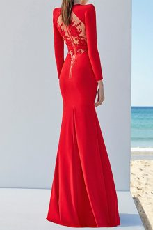 Red Maxi Lace Long Sleeve Round Neck Bandage Dress