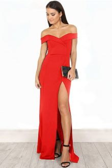 Red Maxi Off Shoulder Short Sleeves Bandage Dress
