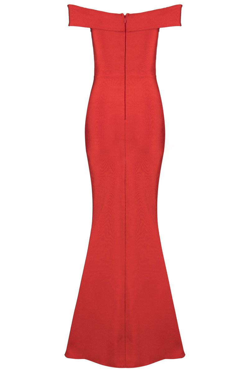 Red Maxi Off Shoulder Short Sleeves Bandage Dress