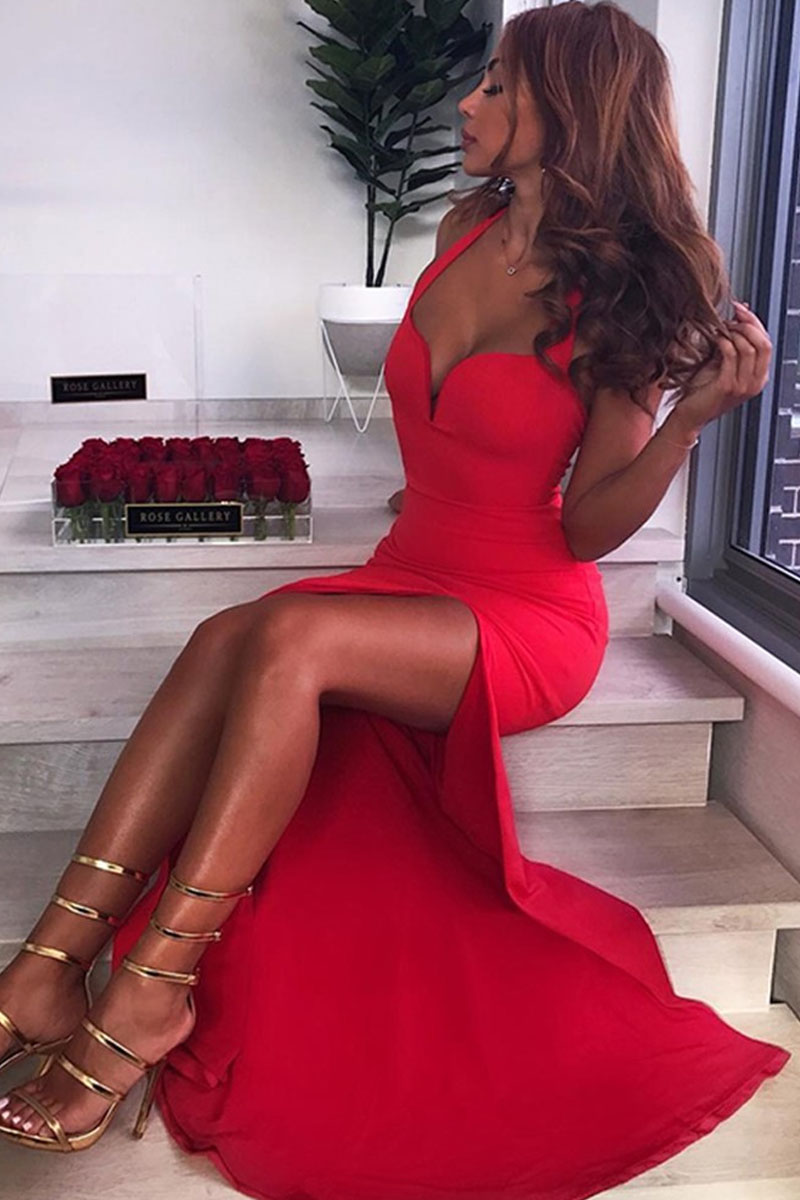 Red Maxi Open Side Sleeveless Bandage Dress