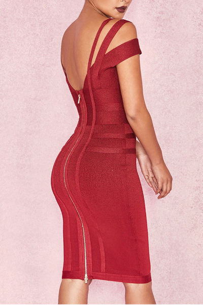 Red Strappy Bandage Dress
