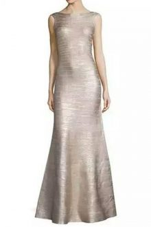 Silver Maxi Foil Printing Round Neck Open Back Sleeveless