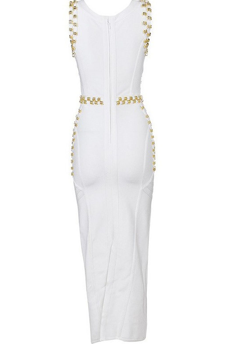 White Maxi Metal Studded Sleeveless Round Neck