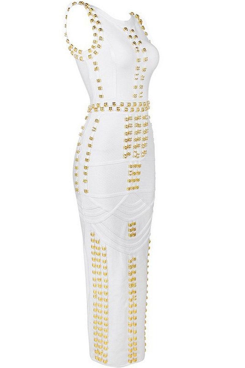 White Maxi Metal Studded Sleeveless Round Neck Charming Wear