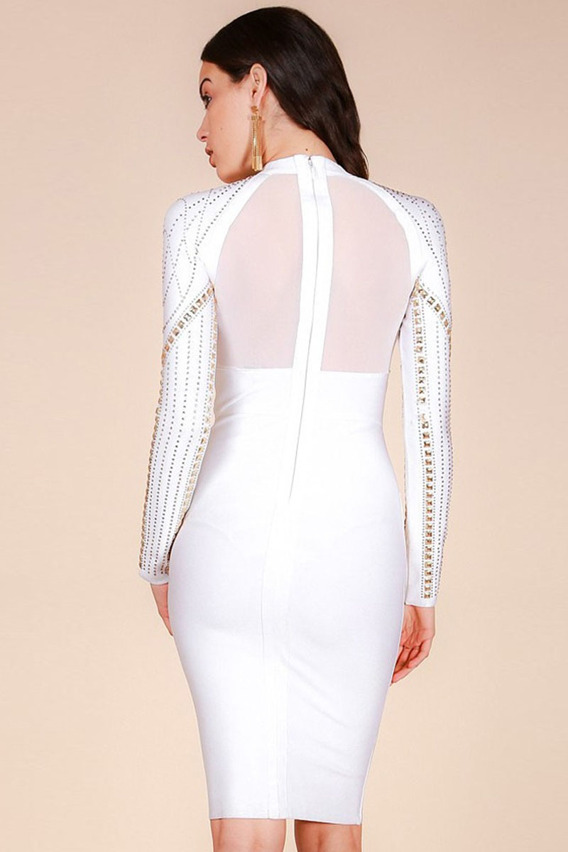 White Metal Studded Beaded Round Neck Long Sleeves