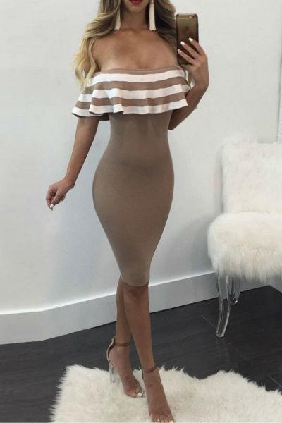 Off Shoulder Cap Sleeve Bandage Dress