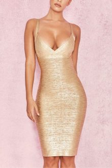 Gold Foil Printing Bandage Dress