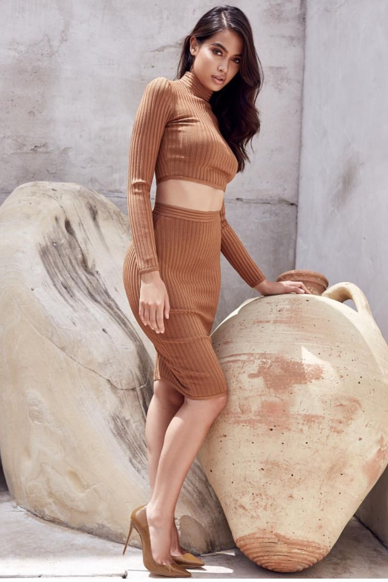 nude 2 pieces set skirt and long sleeve top bandage | charming wear
