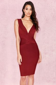Red Wine V Neck Sleeveless Bandage Dress