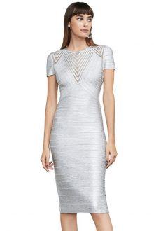 Silver Round Foil Printing Bandage Dress