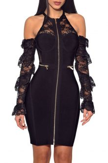 Black Long sleeve Lace Mesh Bandage Dress