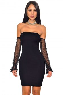 Black See-through Off Shoulder Long Sleeves Bandage Dress