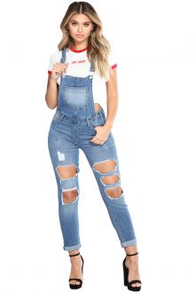 Denise Light Blue Exposed Boyfriend Overalls